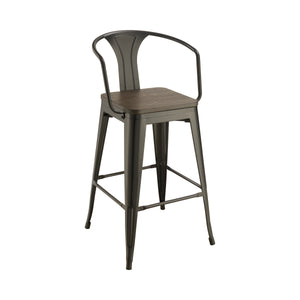 Wooden Seat Bar Stools Dark Elm And Matte Black (Set Of 2)