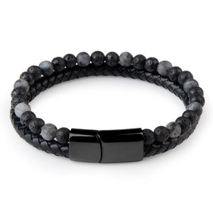Natural Stone & Black Leather Bracelet
