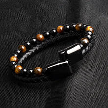 Load image into Gallery viewer, Natural Stone & Black Leather Bracelet