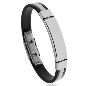 Stainless Steel Silicone Cuff Bracelet