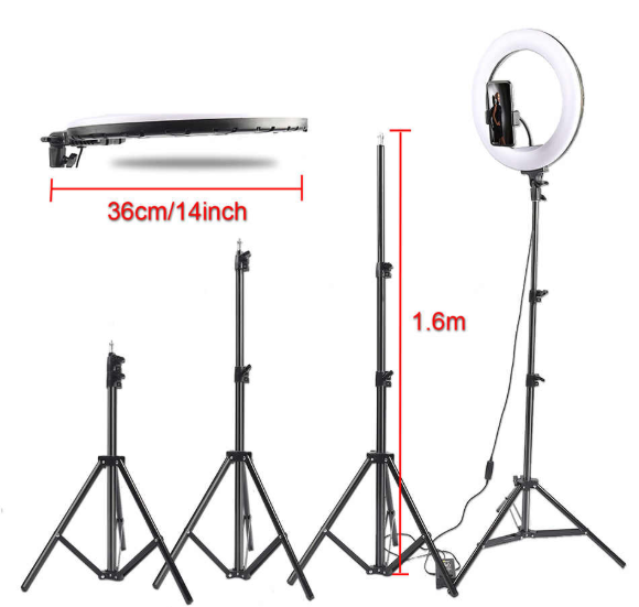 36 CM RING LIGHT + TRIPOD with PHONE HOLDER