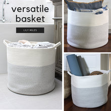 "Load image into Gallery viewer, Woven Blanket Storage Basket - 18""x16"""