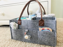 Load image into Gallery viewer, Baby Diaper Caddy - Felt & PU Leather