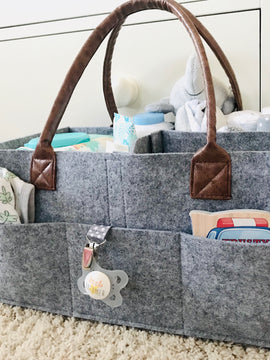 Baby Diaper Caddy - Felt & PU Leather