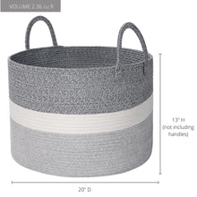 "Load image into Gallery viewer, Cotton Rope Blanket Basket Living Room - 20""x13"""