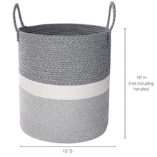 "Load image into Gallery viewer, Large Woven Storage Basket - 16""x18"""