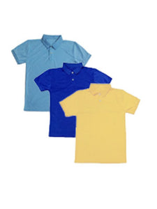 Polo Shirts: Pale Blue-Blue-Yellow