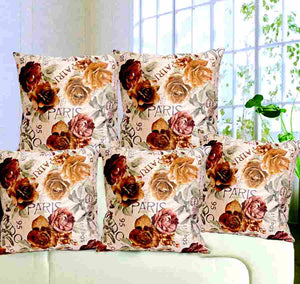 Flower print soft fabric Cushion Covers (set of 5)