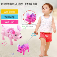 Electric Toy Children Cute Moving Rope Piglet Cute Creative Music Luminous Walking Piglet Pig Electric Pig Children'S Toys