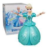 Electric Dancing Princess Doll Toys Elsa Anna Doll with Wings Action Figure Rotating Projection Light Music Model Dolls For Girl