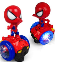 Cartoon Electric 360 Degree Rotating Spiderman Captain America Model Doll Toy Balance Music Lighting Car Kids Gift