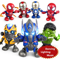Electric Dancing Iron Man Action Figure Toy LED Flashlight Light Sound Music Robot Super Hero Electronic Toy
