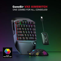GameSir VX2 Single Hand 2.4G Wireless Bluetooth Gaming Keyboard/Mouse/Converter For Xbox/PS3/PS4/Switch/PC