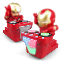 Dancing Iron Man Super Hero Robot with LED Music Flashlight Tony Stark Electric Action Figure Toys for Kids