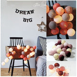 QYJSD 3M LED Cotton Ball Garland Lights String Christmas Xmas Outdoor Holiday Wedding Party Baby Bed Fairy Lights Decoration