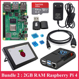 Raspberry Pi 4 Model B Kit + 7 inch Touch Screen and Case + Power Supply + SD Card + Case + Heat Sink for Raspberry Pi 4 2GB 4GB
