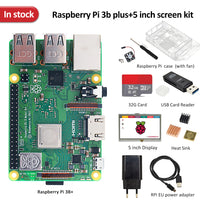 In stock Raspberry pi 3b plus screen kit +5 inch screen + 32G TF card + multi-card reader + heatsink +EU/US power supply+case