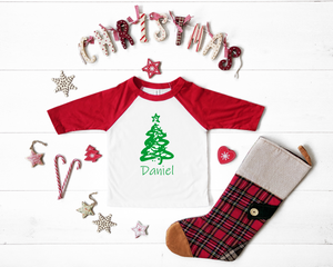 Personalized Christmas Tree 3/4 Sleeve Raglan Toddler or Youth T-Shirt