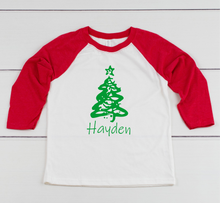 Load image into Gallery viewer, Personalized Christmas Tree 3/4 Sleeve Raglan Toddler or Youth T-Shirt