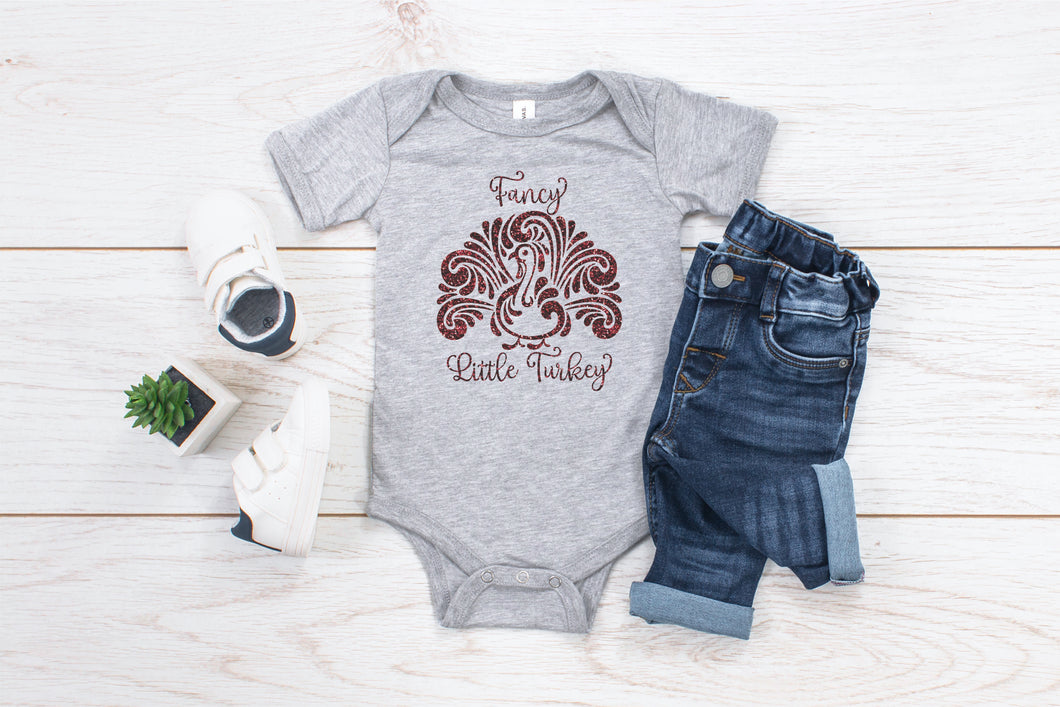 Fancy Little Turkey Toddler Shirt or Infant Bodysuit