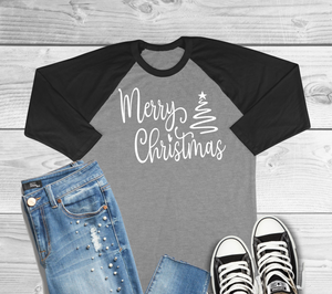 Merry Christmas 3/4 Sleeve Adult Raglan