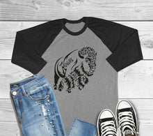 Load image into Gallery viewer, Bison Roam 3/4 Sleeve Raglan T-Shirt
