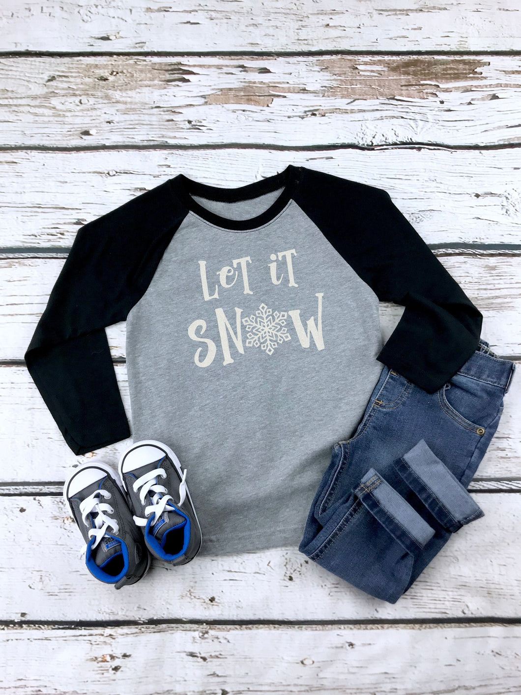 Glitter Let It Snow Child's 3/4 Sleeve Raglan Shirt