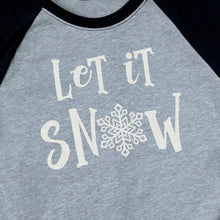 Load image into Gallery viewer, Glitter Let It Snow Child's 3/4 Sleeve Raglan Shirt