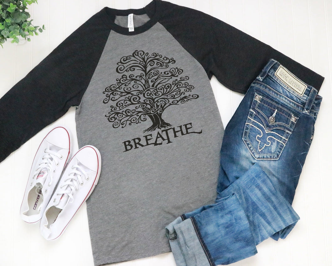 Breathe Tree 3/4 Sleeve Raglan Style Baseball T-Shirt