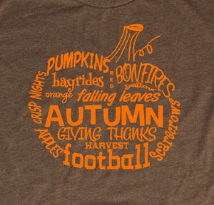Fall Pumpkin Word Art T-Shirt