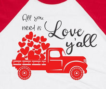 Load image into Gallery viewer, All You Need Is Love Y'all Valentine's Day Baseball Raglan T-Shirt