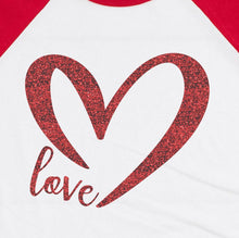 Load image into Gallery viewer, T-SHIRT OF THE WEEK Love Glitter Heart Raglan Style Shirt