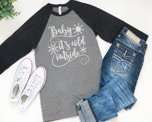 Glittery Baby It's Cold Outside 3/4 Sleeve Raglan Style T-Shirt