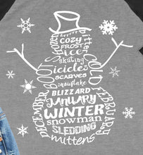 Load image into Gallery viewer, Snowman Word Art 3/4 Sleeve Raglan