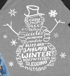 Snowman Word Art 3/4 Sleeve Raglan