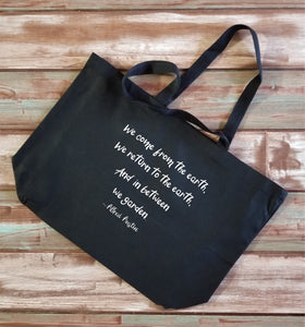 And In Between We Garden Large Canvas Tote