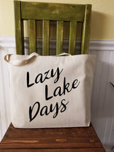 Load image into Gallery viewer, Lazy Lake Days Large Canvas Tote Bag