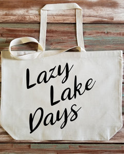 Lazy Lake Days Large Canvas Tote Bag