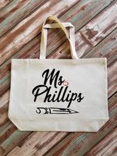 Load image into Gallery viewer, Personalized Name Teacher Tote Bag