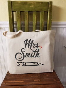 Personalized Name Teacher Tote Bag