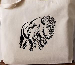Bison Roam Large Canvas Tote Bag