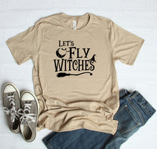 Load image into Gallery viewer, Let's Fly Witches Halloween T-Shirt