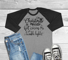 Load image into Gallery viewer, Christmas Movies Hot Cocoa and Twinkle Lights Three Quarter Sleeve Raglan