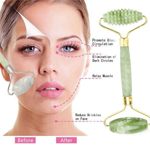 Natural Facial Beauty Massage Tool Jade Roller Face Thin Massager Relaxation