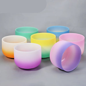 8 Inch Crown Chakra Candy Colored Frosted Crystal Singing Bowl 8 for Meditation