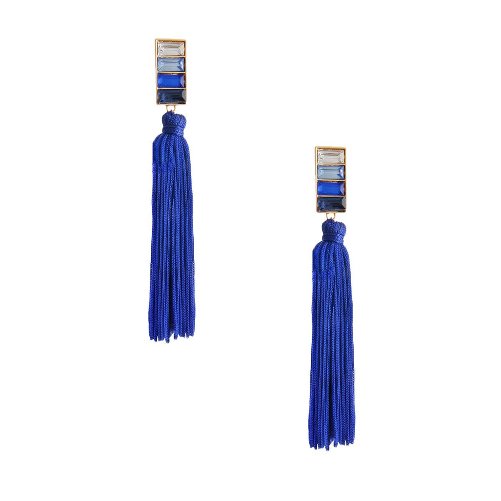 Baguette Crystal Tassel Earrings