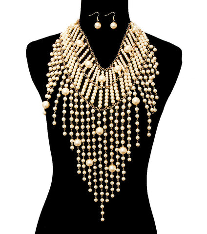 Pearl Draped Necklace Set