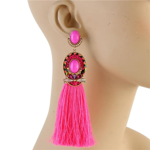 Godiva Tassel Earrings (Fuchsia)
