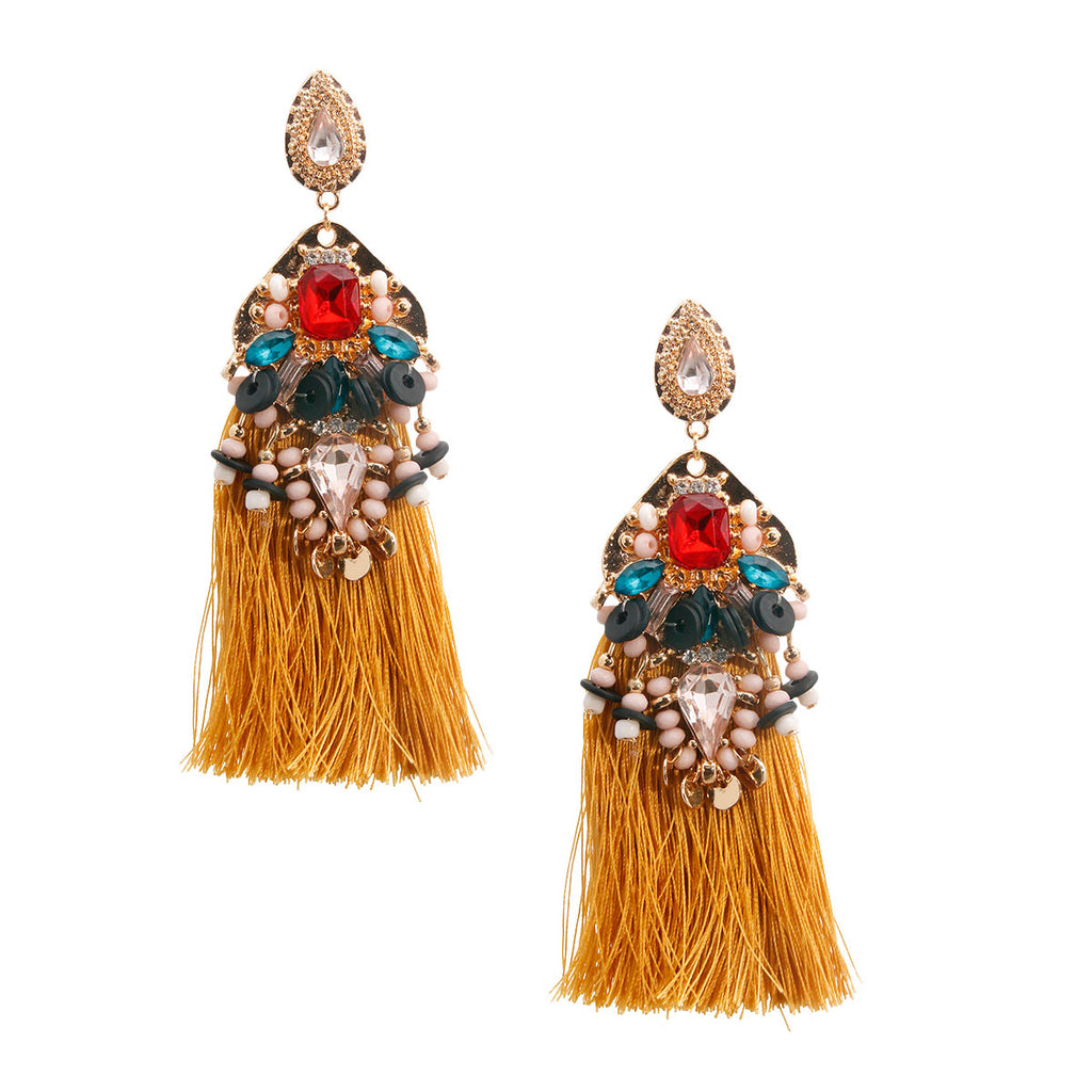 Gold & Mult Color Tassel Earrings