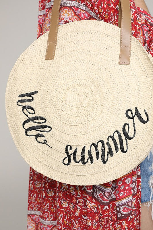 Hello Summer Straw Handbag
